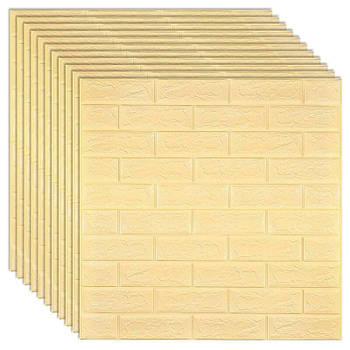 Декоративная 3Д-панель стеновая бежевый кирпич 700x770x5мм (самоклеющаяся 3d панель для стен)