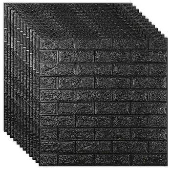 Декоративная 3Д-панель стеновая черный кирпич 700x770x7мм (самоклеющаяся 3d панель для стен)