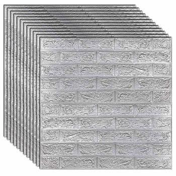 Декоративная 3Д-панель стеновая кирпич серебро 700x770x7мм (самоклеющаяся 3d панель для стен)