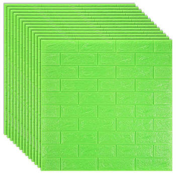 Декоративная 3Д-панель стеновая зеленый кирпич 700x770x7мм (самоклеющаяся 3d панель для стен)