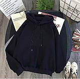 Зимний теплый худи осенний на флисе трехнитка белый голубой черный бежевый  42-44 46-48 женский, фото 3