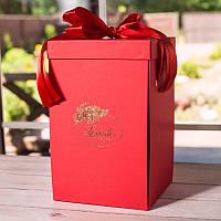 Подарочная ВАУ коробка красная для розы в колбе Lerosh 33 см