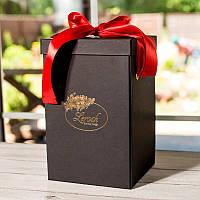 Подарункова ВАУ коробка чорна для троянди в колбі Lerosh 43 см