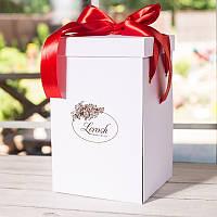 Подарункова ВАУ біла коробка для троянди в колбі Lerosh 43 см