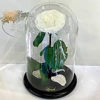 Белая роза в колбе Lerosh - Lux 33 см