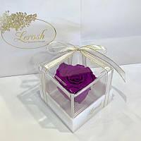 Фіолетовий стабілізований бутон троянди в подарунковій коробці Lerosh - Classic