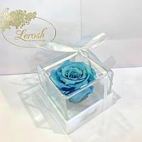 Голубой стабилизированный бутон розы в подарочной коробке Lerosh - Classic