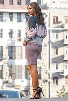 Женская вязаная юбка миди цвет Чайное дерево Размер oversize 44-48, фото 2