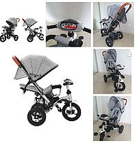 Дитячий триколісний велосипед-коляска TILLY TRAVEL T-387 сірий (аналог CROSSER T-350 )