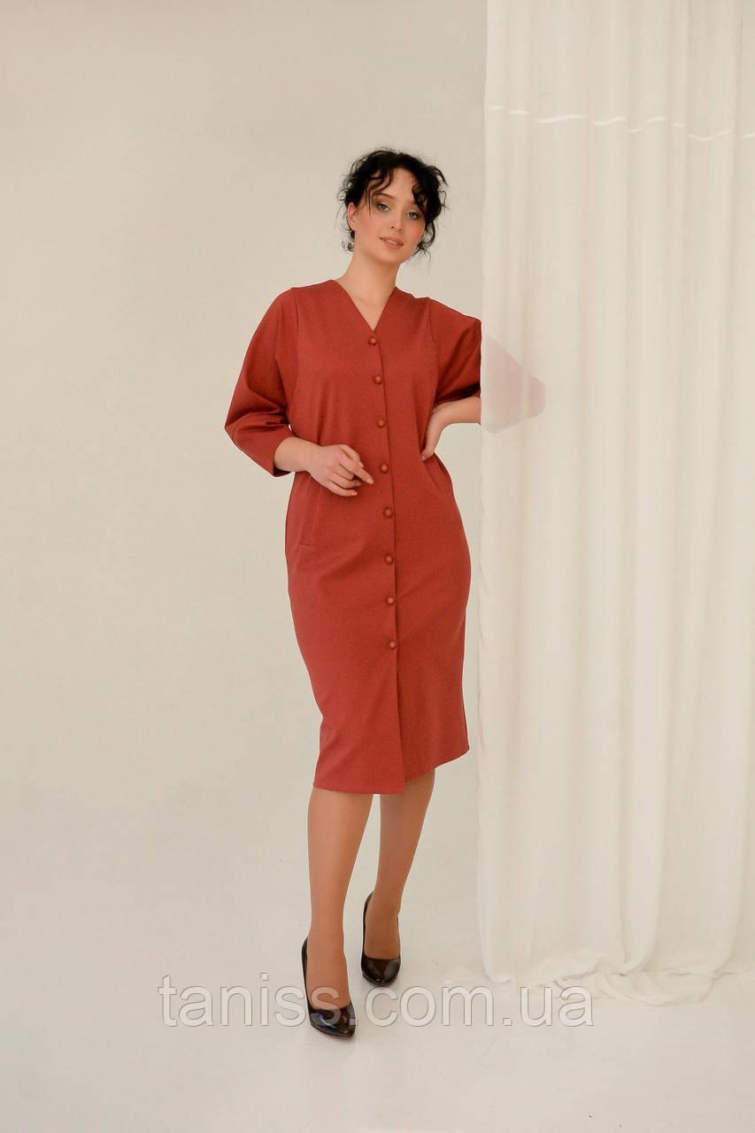 "Женское, классическое платье  ""Агнес, ткань трикотаж Алекс, размеры 50,52,54,56, терракот"