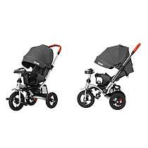 Дитячий триколісний велосипед-коляска TILLY TRAVEL T-387 темно-сірий (аналог CROSSER T-350 )