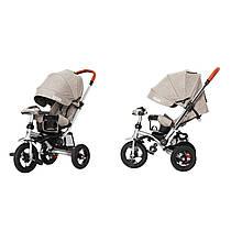 Дитячий триколісний велосипед-коляска TILLY TRAVEL T-387 бежевий (аналог CROSSER T-350 )