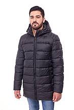 Чоловіча довга зимова куртка пуховик 067, чорний