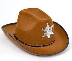Капелюх Шерифа із зіркою карнавальна доросла чорна, коричнева