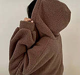 Женское зимнее худи на меху супер теплое 42-46 оверсайз молочное мокко тедди с капюшоном кофта на молнии хит, фото 2