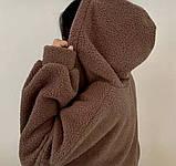 Жіноча зимове худі на хутрі супер тепле 42-46 оверсайз молочне мокко тедді кофта з капюшоном на блискавці хіт, фото 2