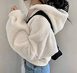Женское зимнее худи на меху супер теплое 42-46 оверсайз молочное мокко тедди с капюшоном кофта на молнии хит, фото 4