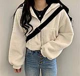Женское зимнее худи на меху супер теплое 42-46 оверсайз молочное мокко тедди с капюшоном кофта на молнии хит, фото 3