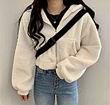 Жіноча зимове худі на хутрі супер тепле 42-46 оверсайз молочне мокко тедді кофта з капюшоном на блискавці хіт, фото 3