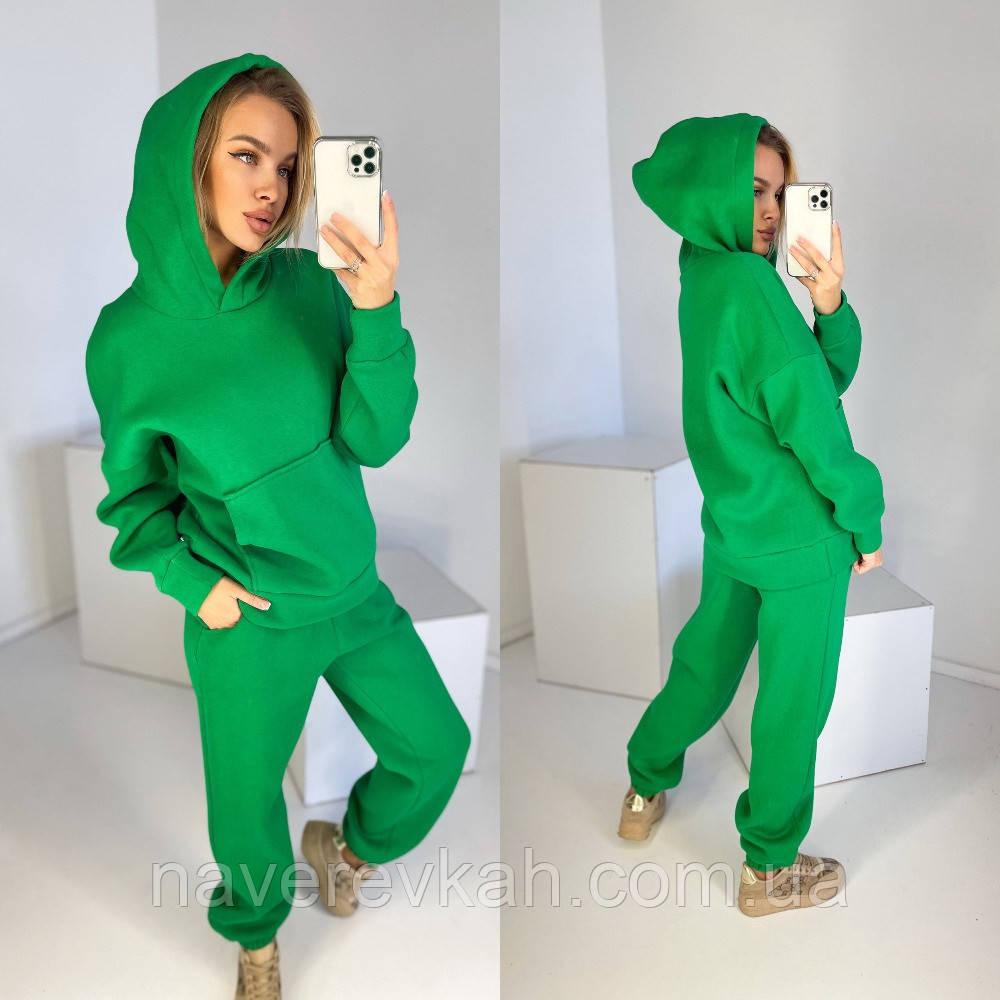 Женский спортивный костюм на флисе с хлопка из натуральной ткани не кошлатится 42-44 46-48 малина зеленый хаки