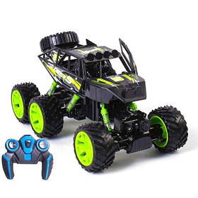 Джип на радиоуправлении машина внедорожник 6 колес полный привод для детей Черно-зеленый (59222)