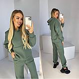 Женский спортивный костюм на флисе с хлопка из натуральной ткани не катается 42-44 46-48 малина зеленый хаки, фото 6