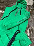 Женский спортивный костюм на флисе с хлопка под горло зимний 42 44 46 зеленый молочный мокко принт, фото 7