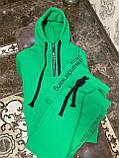 Женский спортивный костюм на флисе с хлопка под горло зимний 42 44 46 зеленый молочный мокко принт, фото 10