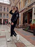 Жіночий спортивний костюм на флісі з бавовни під горло зимовий 42 44 46 чорний молочний мокко принт, фото 6