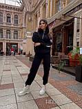 Женский спортивный костюм на флисе с хлопка под горло зимний 42 44 46 черный молочный мокко принт, фото 7
