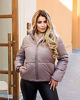 Теплая женская стеганная короткая куртка на синтепоне черная бежевая белая 48 50 52 54 56 58
