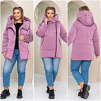Женская удлиненная зимняя куртка с эффектом бархота большого размера черный синий бордо серый 50 52 54 56