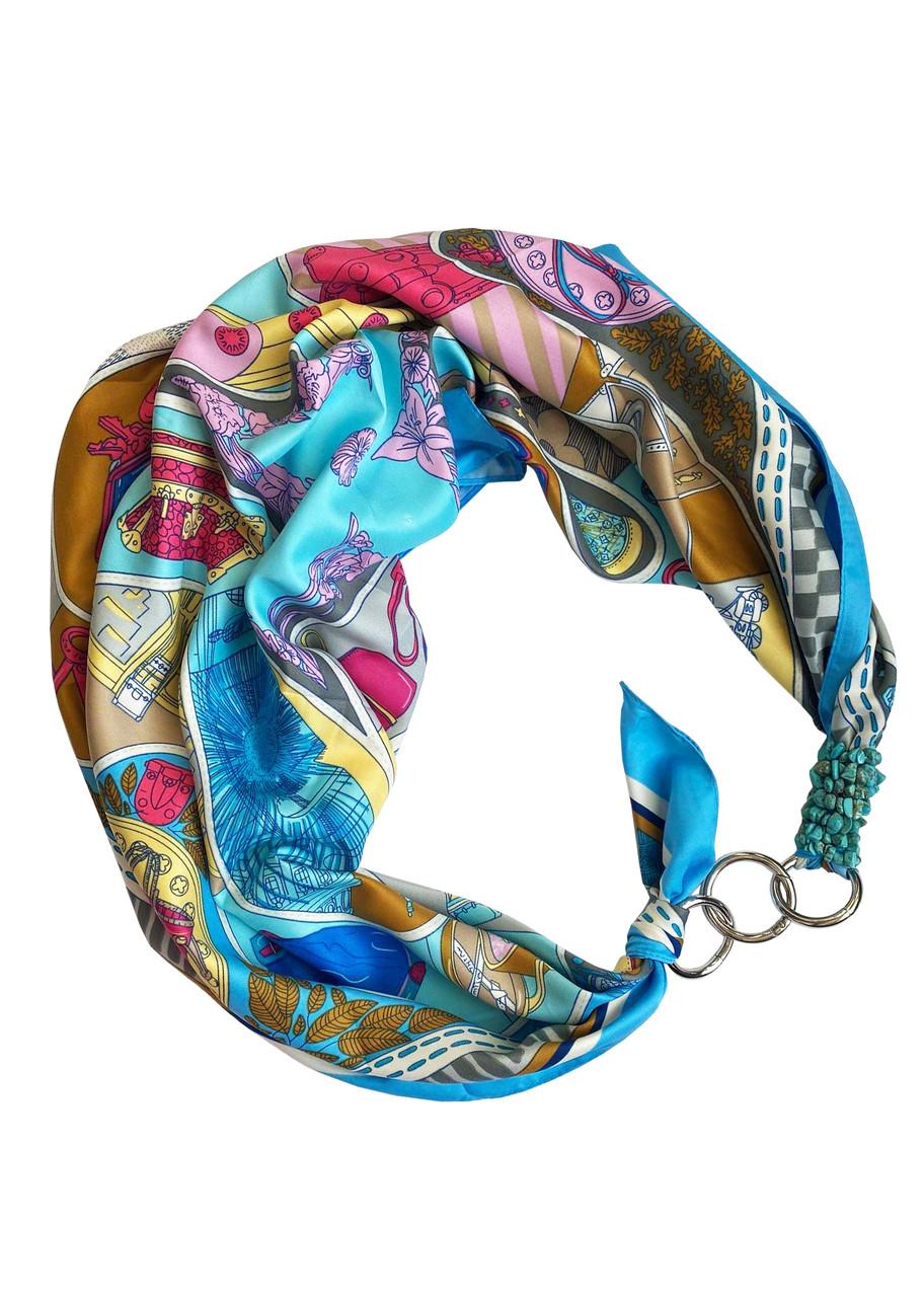 """Платок """"Бирюзовые грезы"""" от бренда MyScarf, подарок женщине"""