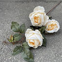Искусственная Ветка Розы английской 3-ка 80 см. светло персиковый