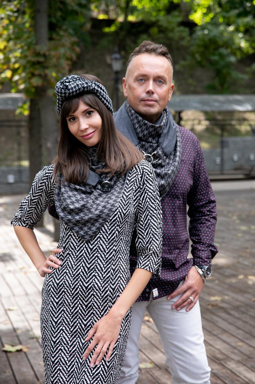 """Комплект из 2-х шарфов-бактусов """"Эдинбург"""", большие теплые шарфы MyScarf"""