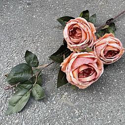 Искусственная Ветка Розы английской 3-ка 80 см. персиковый