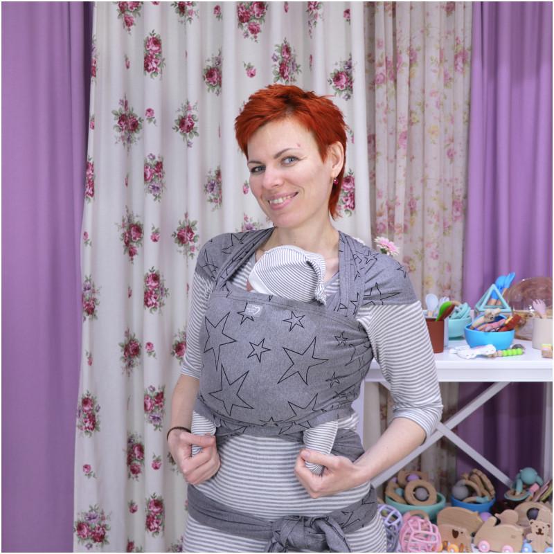 Трикотажный слинг-шарф HOPPEDIZ Grey-melange Bio