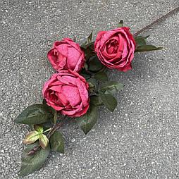 Искусственная Ветка Розы английской 3-ка 80 см. малиновый