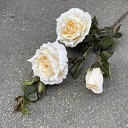 Искусственная Ветка Розы 3-ка 80 см. светло персиковый