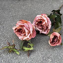Искусственная Ветка Розы 3-ка 80 см. персиковый