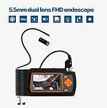 Ендоскоп 5,5 мм Подвійна камера для діагностики Дизельних та Бензинових двигунів товщина всього 5,5 мм Зум 2х, фото 2