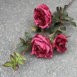 Искусственная Ветка Розы  3-ка 80 см. малиновый