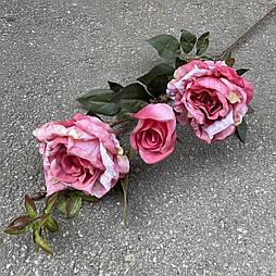 Искусственная Ветка Розы 3-ка 80 см. розовый