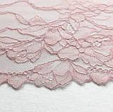 Эластичное (стрейчевое) кружево розового цвета, ширина 22,5 см., фото 8