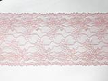 Эластичное (стрейчевое) кружево розового цвета, ширина 22,5 см., фото 4