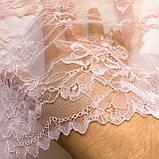 Эластичное (стрейчевое) кружево розового цвета, ширина 22,5 см., фото 6