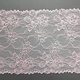 Эластичное (стрейчевое) кружево розового цвета, ширина 22,5 см., фото 7