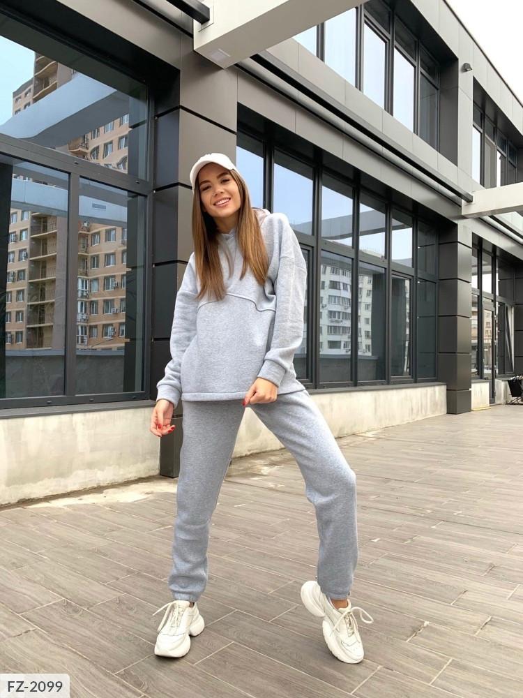 Однотонный повседневный практичный костюм штаны и кофта из трехнитки на флисе Размер: 42-44, 44-46 арт. 1003