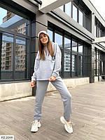 Однотонный повседневный практичный костюм штаны и кофта из трехнитки на флисе Размер: 42-44, 44-46 арт. 1003, фото 1