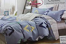Байковий комплект постільної білизни Байка ( фланель) Ромби двосторонній Сірого кольору